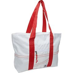 #FabricHandbags, #Handbags - Sailorbags Sailcloth Medium Tote White with Red Straps - Sailorbags Fabric Handbags