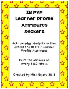 IB PYP Learner Profile Attribute Stickers