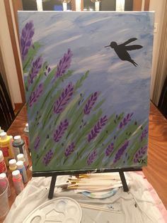"""$20 - Hummingbird in the Lilac Bushes - 19x15"""" handmade acrylic painting on canvas"""