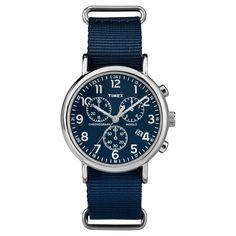 Timex Weekender Slip Thru Nylon Strap Chronograph Watch - Blue TW2P71300JT, Adult Unisex