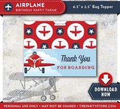 Airplane Treat Bag Toppers | Vintage Plane Birthday Party | Printable | Invitation