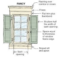 Window trim details minus the shutters and fancy crown - would be stunning around the smaller bedroom windows! Café Exterior, Exterior Windows, Exterior Remodel, Modern Exterior, Window Casing, Window Trims, Window Moulding, Window Detail, Window Sill