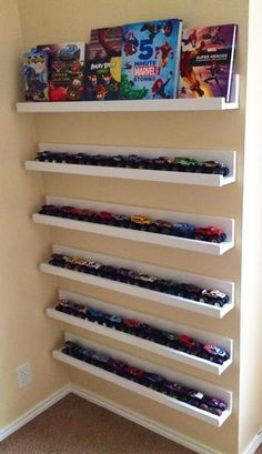 Wall Decorating with Toy Cars, Kids Storage and Organization Ideas