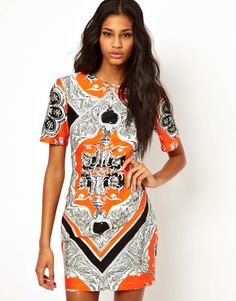 Scarf Print Blocked Mini Dress