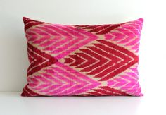 Ikat Silk Velvet Pillow - Neon Pink Red Handwoven Velvet Ikat Pillow Cover Organic Shine Lumbar Cushion Zigzag Throw Chevron Pillows