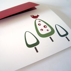 Holiday Cards/Christmas Cards - Set of 8 - Modern Red Bird. $12.00, via Etsy.