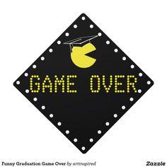 Funny Graduation Game Over Graduation Cap Topper . Add some fun to your graduation hat. #graduationgameover #graduation #grad #gradcap