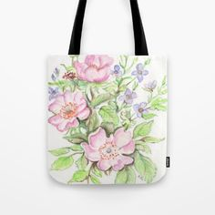 A Better World. watercolor, art, painting, flowers, floral, design, pink, purple, lavender, green, leaves, blossoms, garden, gift, tote bag, shoulder bag.
