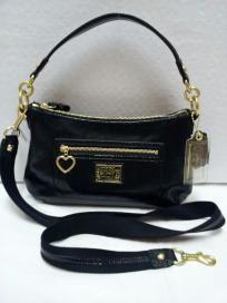 FREE SHIP - NWT! COACH Black Daisy Liquid Gloss Patent Leather Small Crossbody Bag F20017