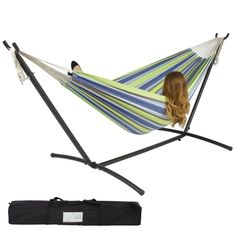 A comfy hammock that comes with its own stand so you can lounge on it inside or outdoors.