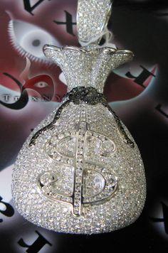 VS Money Bag Pendant Mens Hip Hop Pendants Gold 14k Round Cut 23.18 ct - TraxNYC.com
