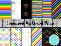 Rainbow Digital Papers Colors of the Rainbow by MagicalStudio