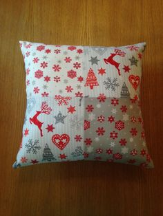 Snowflake and reindeer cushion, Christmas pillow, Christmas cushion by…