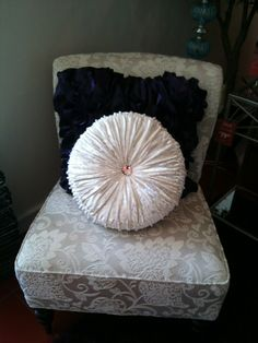 Pier 1 Ivory Leaves Addyson Chair and Round Velvet with Stones Pillow