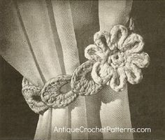 Crochet Home Decor Pattern - 'Flower' Curtain Tie Back: