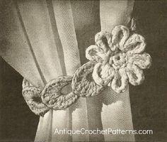 Crochet Home Decor Pattern - 'Flower' Curtain Tie Back: