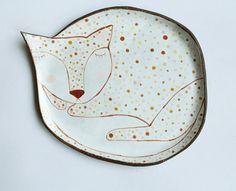 Sleepy cat  ceramic plate with pastel polka dot by clayopera, $35.00