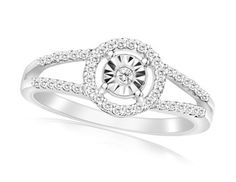 CLEARANCE! 1/4 Carat Miracle Set Sterling Silver Diamond Ring
