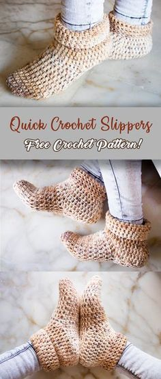 quick crochet slippers - Crochet and Knit Easy Crochet Slippers, Crochet Slipper Boots, Crochet Socks Pattern, Knitting Patterns, Crochet Patterns, Slipper Socks, How To Crochet Socks, Crochet Stitches, Crochet Sandals