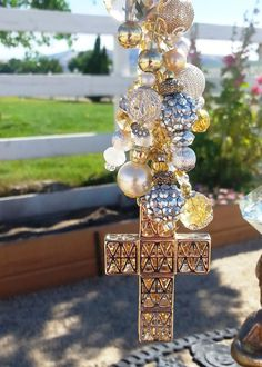 "Golden ""Gatsby"" Cross Charm For Your Purse, Key Chain and Car's Rear View Mirror: Rhinestone Sparkle Bling Dangle Jewelry"