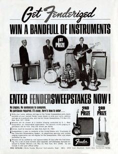 Publicité d'époque pour la marque Fender.