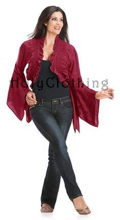 Misha Gypsy Jacquard Handkerchief Sleeve Bolero Shrug Top 3X - 3X - Shop by Size - Tops