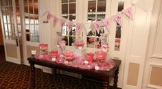 Candy bar wedding favors in pink