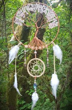 Tree Of Life Dream Catcher/Wall Hanging/Pink/ White/Purple/Hand Made/Swarovski Beads