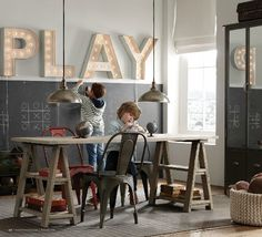 Restoration hardware kids. Want to make the marquee play sign for downstairs