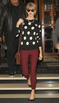 Polka dot sweater with colored jeans for #fall and #winter