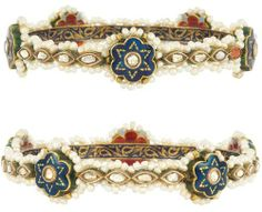 Pair of Indian Gold, Seed Pearl, Foiled-Back Diamond and Enamel Bangle Bracelets