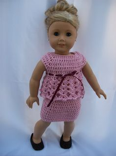 American Girl doll clothes - Soft Pink crocheted outfit includes skirt and top - Made to fit 18 inch dolls.