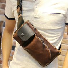 2015 new fashion small mens handbags shoulder bags genuine horse top pu leather for men brown XKB15#