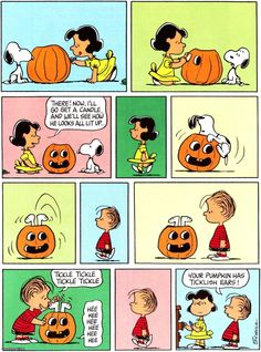 ticklish pumpkin ~ Peanuts cartoon for Halloween with Snoopy stuck in a jack-o'-lantern