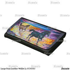 Large Faux Leather Wallet  #alanjporterart #kompas #originaldesign #beautiful #animals #message #zazzle #beautifulpicture #horses #sunset #product #wallet #gift #present #birthday #money #greenery