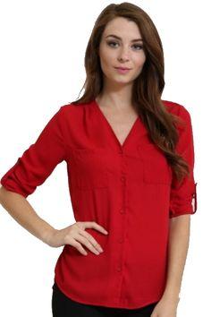 00d7d4ff7cd6 RED CHIFFON 3 4 SLEEVE SHIRT WITH DOUBLE POCKETS - - 1. Glamline TT