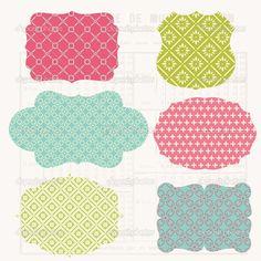 Elementos de design colorido vintage para scrapbook - tags velhos — Ilustração de Stock #7384005