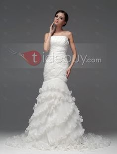 マーメイドストラップレスアップリケティアードチャーペルトラインレースアップ床まで届く長さウエディングドレス