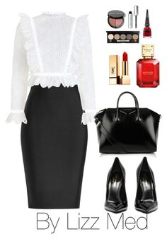 """""""Black and white"""" by lizz-med on Polyvore featuring moda, Roland Mouret, Zimmermann, Givenchy, Yves Saint Laurent, Michael Kors, Bobbi Brown Cosmetics y Manic Panic NYC"""