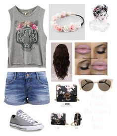 """Simple outfit"" by maribeltavarez ❤ liked on Polyvore featuring Full Tilt, WigYouUp, Converse, Youshine and Fendi"