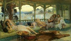 Algérie  -  Peintre American  Frederick Arthur Bridgman(1847-1928), huile sur toile , Titre : Fin d'après midi à Alger