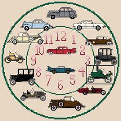 Classic Cars Cross Stitch Clock Chart / Pattern by IpeksGemBoxUK