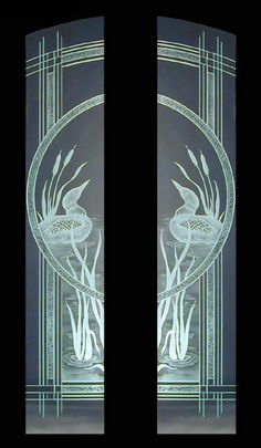 Etched Loons and Cattails Door panels
