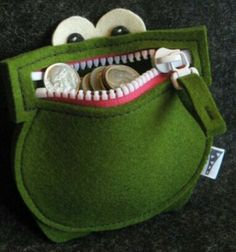 #Felt, #Fieltro Felt frog purse Monedero rana de fieltro