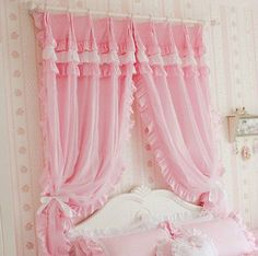 2 PCS Curtain Panel Drapes Charming Princess Pink Check Floral Cotton Style A