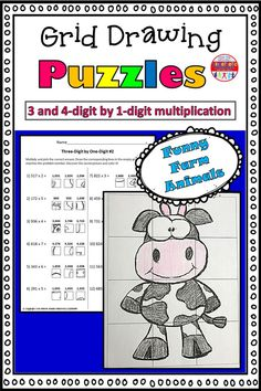 These grid drawings are a fun and creative way for your kids to practice their multiplication skills! Kids simply find the box that corresponds with the correct multiplication answer and transfer it into the square on the blank grid. Each page leads to a different picture of a funny farm animal to color.  This set includes three pages of 3-digit by 1-digit practice, and three pages of 4-digit by 1-digit practice. Multiplication Grid, Multiplication Activities, Math Worksheets, Math Resources, Math Activities, 5th Grade Math, Second Grade, Kinesthetic Learning, Love Teacher