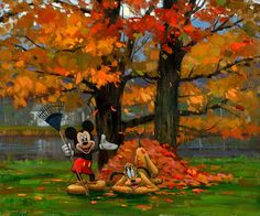 David Tutwiler - Mickey Mouse - Mickey and Pluto Fall for It - world-wide-art.com