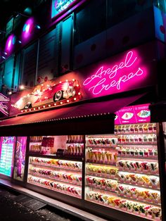 Angel Crepes Takeshita Street Harajuku Tokyo Japan kawaii neon pink sign logo girly food things to do in Shibuya PINTEREST: @eva_darling