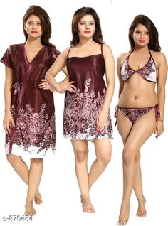 Flare Satin Nightdress: Free COD Womens Flare Satin Nightwears Vol 3 Fabric: Bra - Satin, Panty - Satin, N. Bridal Lingerie, Babydoll Lingerie, Aunty Desi Hot, Birthday Images, Indian Designer Wear, Bra Tops, Indian Bridal, Nightwear, Cod