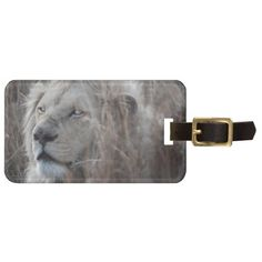 African white lion resting travel luggage bag tag